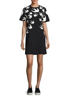 McQ Alexander McQueen Short-Sleeve Jersey Swallow-Print T-Shirt Dress