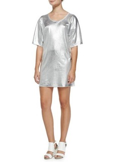 McQ Alexander McQueen Short-Sleeve Silver Foil T-Shirt Dress