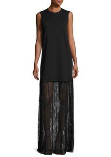 McQ Alexander McQueen Sleeveless Jersey & Lace Mixed-Media Maxi Dress