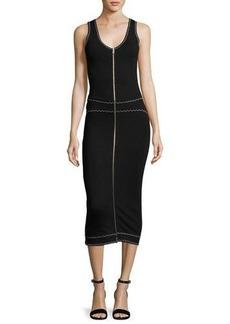 McQ Alexander McQueen Sleeveless Scalloped Zip Jersey Midi Dress