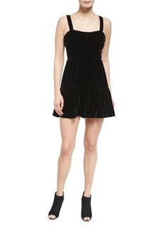 McQ Alexander McQueen Sleeveless Smocked Velour Dress