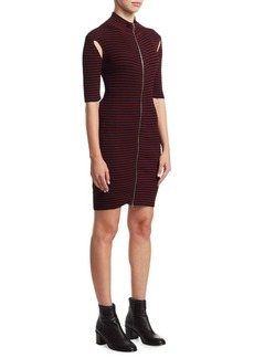 McQ Alexander McQueen Striped Bodycon Dress