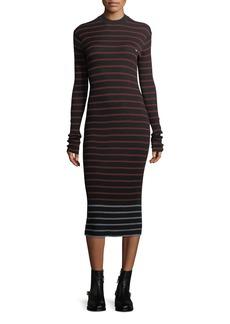 McQ Alexander McQueen Striped Crewneck Rib-Knit Bodycon Dress