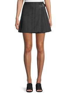 McQ Alexander McQueen Striped Wool Kilt Skirt w/ Buckle