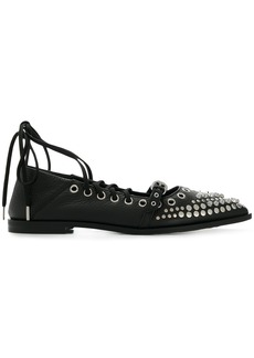 McQ Alexander McQueen studded lace-up flats - Black