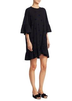 McQ Alexander McQueen Swallow Loose Ruffle Bell-Sleeve Cotton T-Shirt Dress