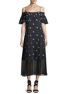 McQ Alexander McQueen Swallow Off-Shoulder A-Line Dress