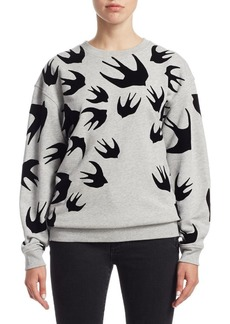 McQ Alexander McQueen Swallow-Print Cotton Sweatshirt