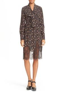 McQ Alexander McQueen Tie Neck Floral Print Dress