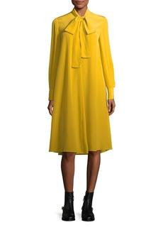 McQ Alexander McQueen Tie-Neck Long-Sleeve Silk Dress