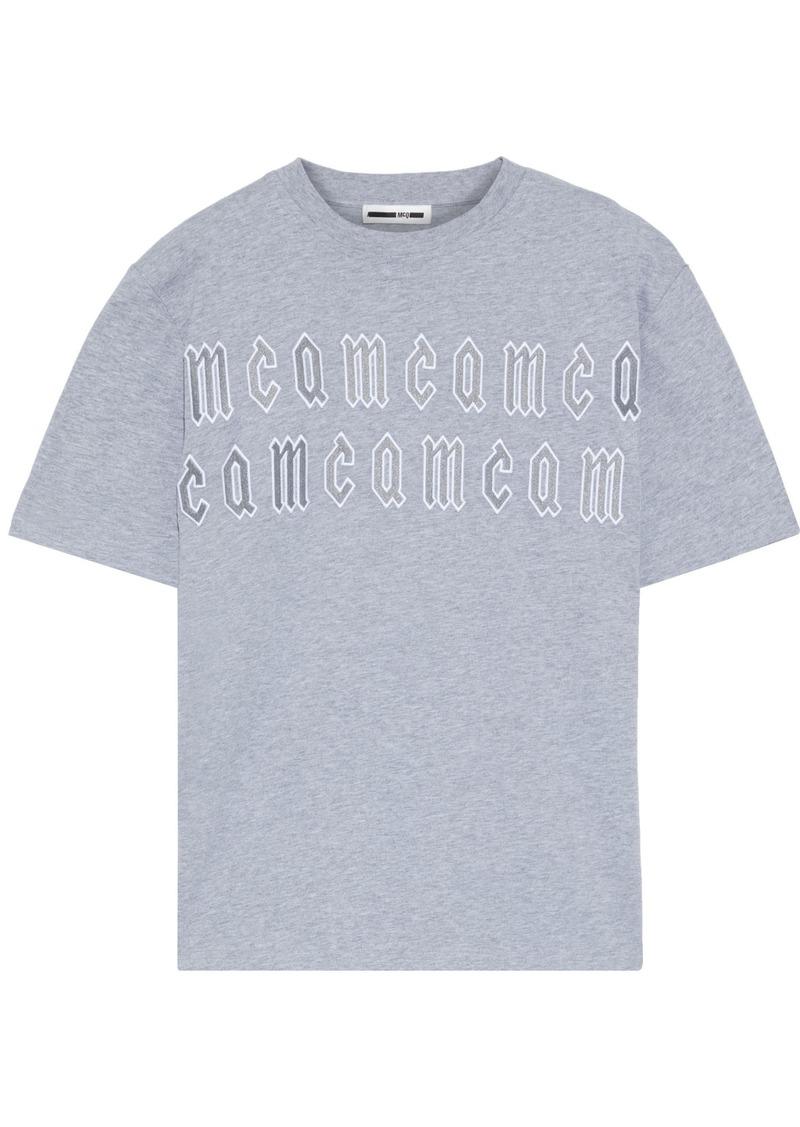 Mcq Alexander Mcqueen Woman Appliquéd Cotton-jersey T-shirt Stone