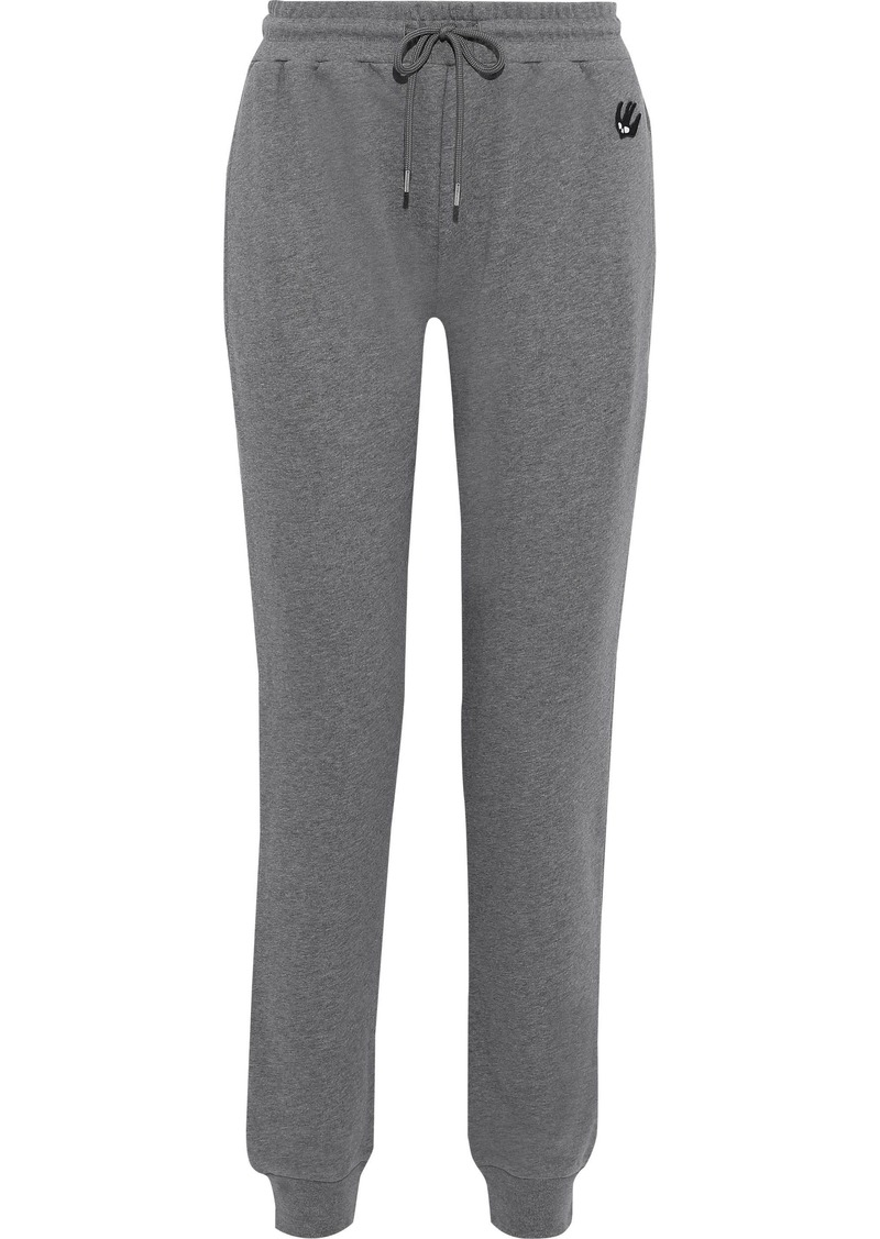 Mcq Alexander Mcqueen Woman Appliquéd French Cotton-blend Terry Track Pants Gray