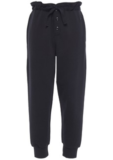 Mcq Alexander Mcqueen Woman Appliquéd French Cotton-terry Tapered Pants Black