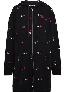 Mcq Alexander Mcqueen Woman Appliquéd Printed French Cotton-terry Hooded Mini Dress Black