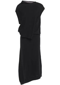 Mcq Alexander Mcqueen Woman Asymmetric Draped Wool Midi Dress Black