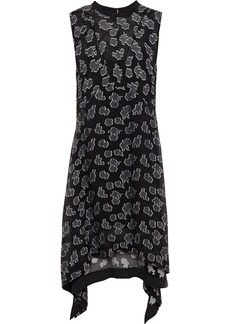 Mcq Alexander Mcqueen Woman Asymmetric Fil Coupé Silk-blend Chiffon Midi Dress Black