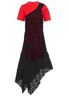 Mcq Alexander Mcqueen Woman Asymmetric Layered Crocheted Lace And Cotton-jersey Midi Dress Black