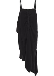 Mcq Alexander Mcqueen Woman Asymmetric Ruched Crepe Midi Dress Black