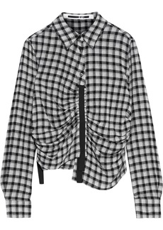 Mcq Alexander Mcqueen Woman Asymmetric Ruched Gingham Flannel Shirt Gray