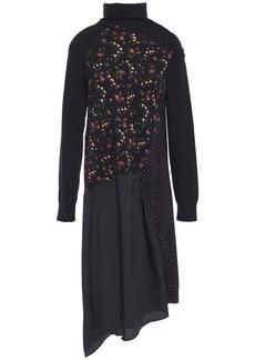 Mcq Alexander Mcqueen Woman Asymmetric Stretch-knit Floral-print Cotton-blend And Crepe De Chine Dress Black