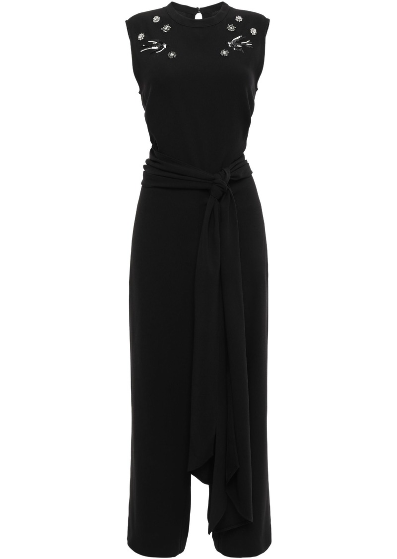 Mcq Alexander Mcqueen Woman Belted Embellished Satin-crepe Jumpsuit Black
