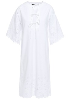 Mcq Alexander Mcqueen Woman Bow-detailed Broderie Anglaise Cotton Mini Dress White