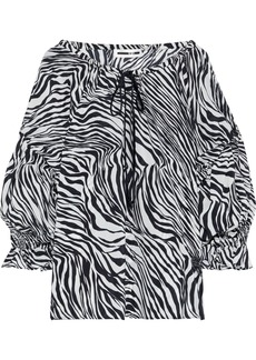 Mcq Alexander Mcqueen Woman Bow-detailed Zebra-print Silk Crepe De Chine Blouse Animal Print