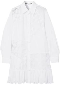 Mcq Alexander Mcqueen Woman Broderie Anglaise Cotton-poplin Mini Shirt Dress White