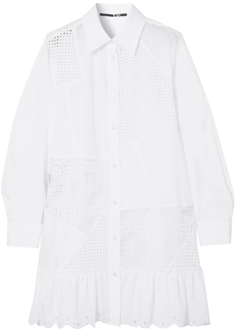 Mcq Alexander Mcqueen Woman Broderie Anglaise Cotton-poplin Mini Shirt Dress White