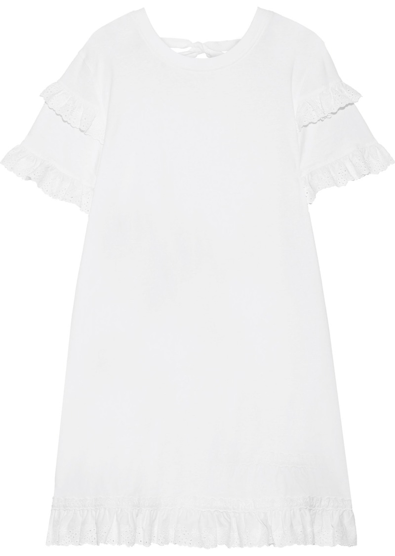 Mcq Alexander Mcqueen Woman Broderie Anglaise-trimmed Cotton-jersey Mini Dress White