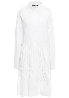 Mcq Alexander Mcqueen Woman Broderie Anglaise-trimmed Cotton-poplin Shirt Dress White