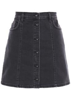 Mcq Alexander Mcqueen Woman Button-detailed Distressed Denim Mini Skirt Charcoal