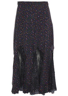Mcq Alexander Mcqueen Woman Chantilly Lace-paneled Floral-print Silk Crepe De Chine Midi Skirt Black