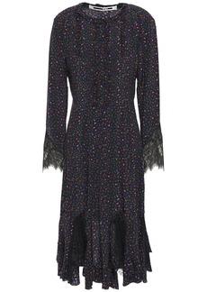 Mcq Alexander Mcqueen Woman Chantilly Lace-trimmed Floral-print Silk Crepe De Chine Dress Black