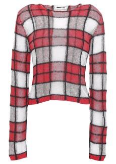Mcq Alexander Mcqueen Woman Checked Crocheted Linen-blend Sweater Red