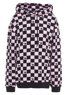 Mcq Alexander Mcqueen Woman Checked French Cotton-terry Hoodie Baby Pink