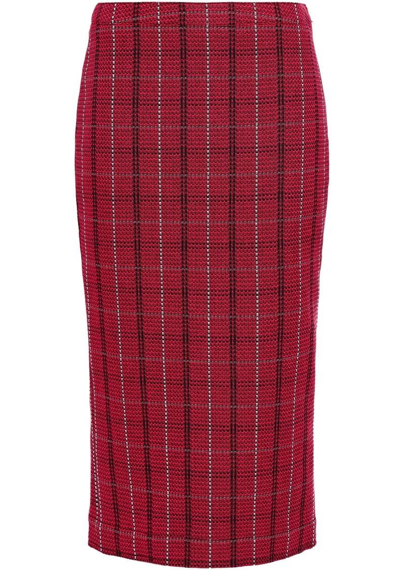 Mcq Alexander Mcqueen Woman Checked Tweed Midi Pencil Skirt Crimson