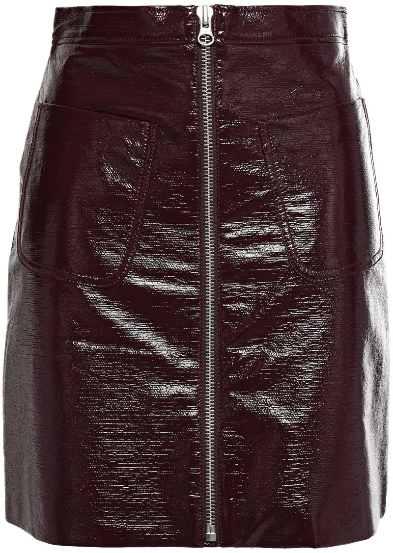 Mcq Alexander Mcqueen Woman Coated Crinkled-cotton Mini Skirt Merlot