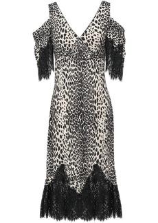 Mcq Alexander Mcqueen Woman Cold-shoulder Lace-trimmed Leopard-print Crepe De Chine Midi Dress Animal Print