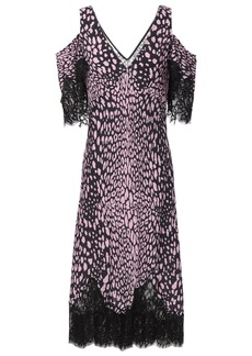 Mcq Alexander Mcqueen Woman Cold-shoulder Lace-trimmed Leopard-print Crepe Midi Dress Baby Pink