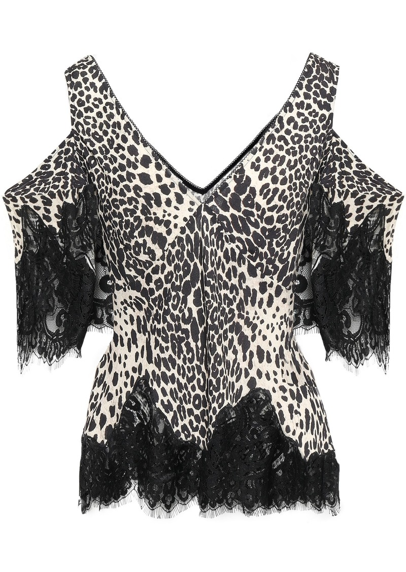 Mcq Alexander Mcqueen Woman Cold-shoulder Lace-trimmed Leopard-print Crepe Top Beige