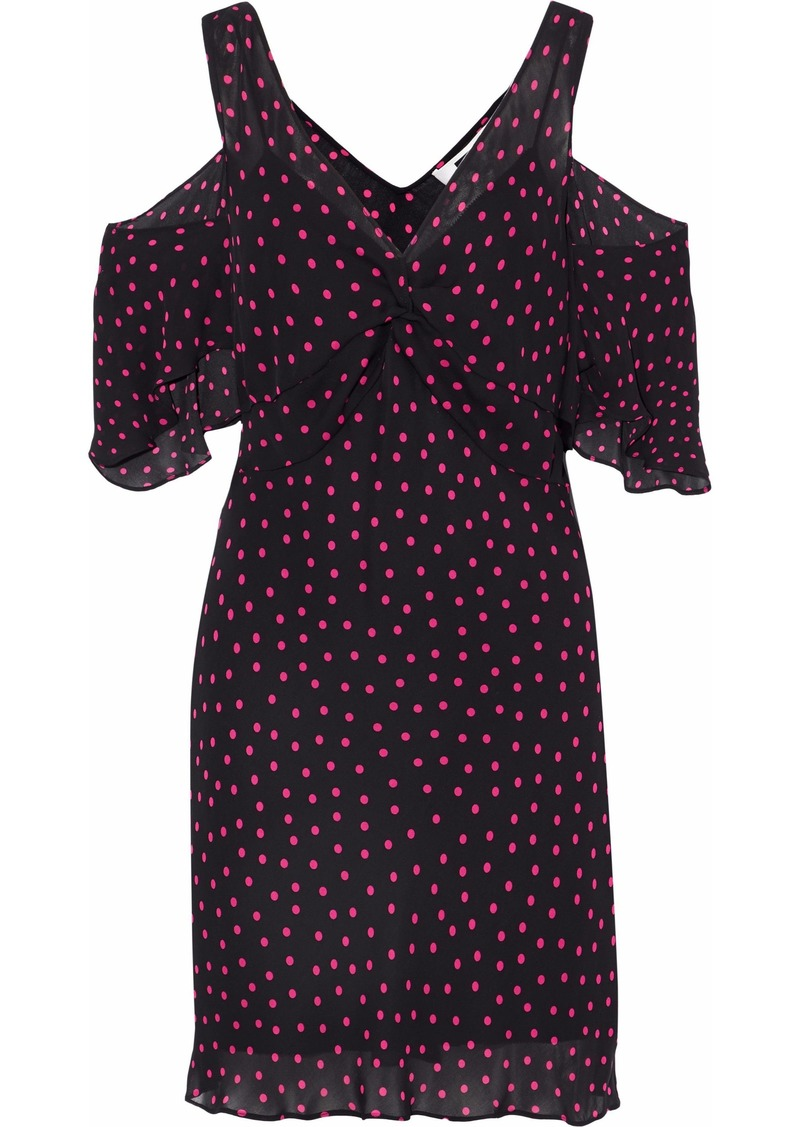 Mcq Alexander Mcqueen Woman Cold-shoulder Polka-dot Georgette Mini Dress Black