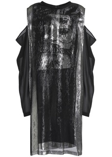 Mcq Alexander Mcqueen Woman Cold-shoulder Printed Metallic Silk-blend Chiffon Dress Black
