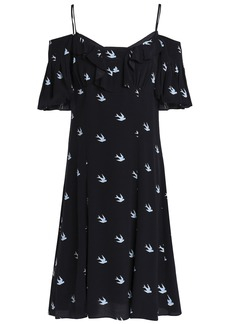 Mcq Alexander Mcqueen Woman Cold-shoulder Ruffle-trimmed Printed Woven Mini Dress Midnight Blue