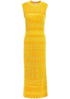 Mcq Alexander Mcqueen Woman Crochet-knit And Chenille Striped Midi Dress Saffron