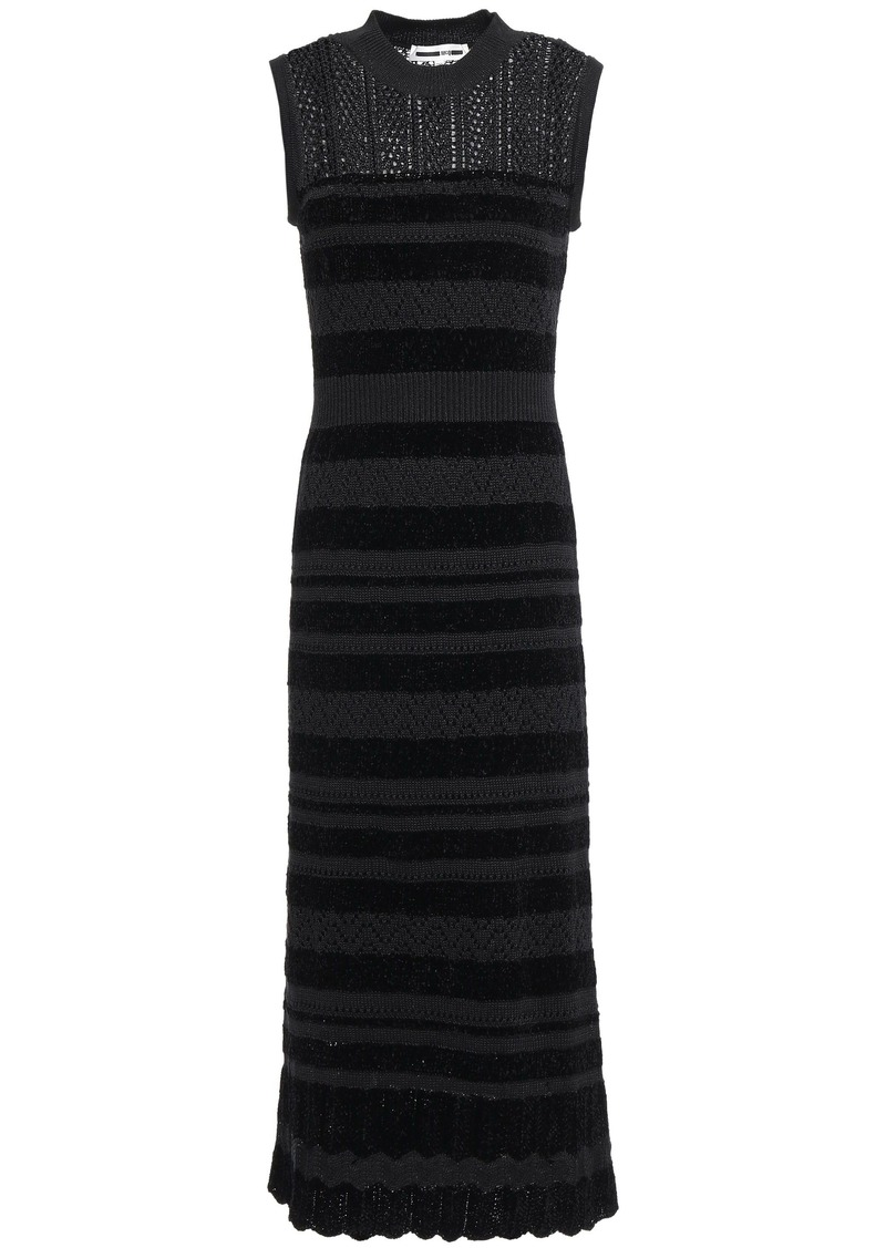 Mcq Alexander Mcqueen Woman Crochet-knit And Chenille Striped Midi Dress Black