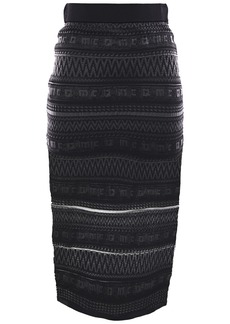 Mcq Alexander Mcqueen Woman Crochet-knit Pencil Skirt Black