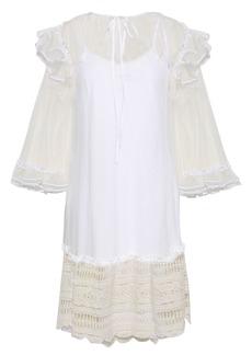 Mcq Alexander Mcqueen Woman Crochet-trimmed Point D'esprit Mini Dress Off-white