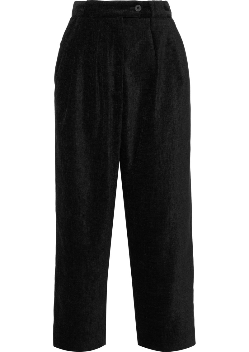 Mcq Alexander Mcqueen Woman Cropped Canvas Wide-leg Pants Black