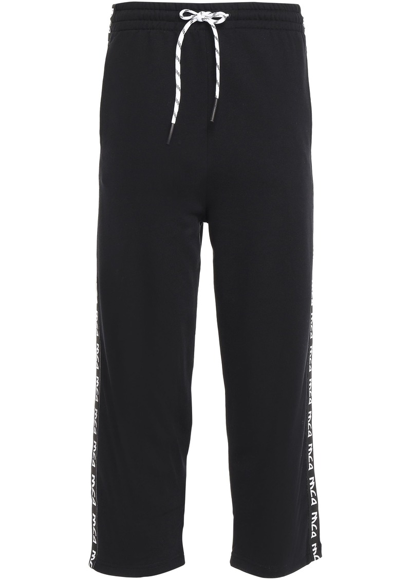 Mcq Alexander Mcqueen Woman Cropped French Cotton-terry Track Pants Black
